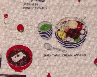 HALF YARD Lecien - Food Land - Japanese Desserts and Confections on NATURAL - 40906-11 - Cotton/Linen Blend - Green Tea, Watermelon, Cream
