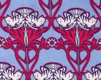 HALF YARD Hokkoh - Art Nouveau Cats Blue and Raspberry - 301-220-1E - Cotton Crepe - Japanese Import