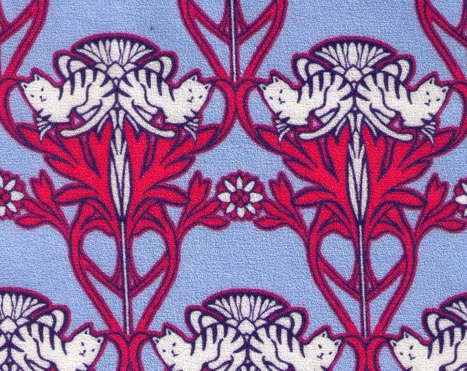 HALF YARD Hokkoh - Art Nouveau Cats Blue and Raspberry - 301-220-1E - Cotton Crepe - Japanese Import
