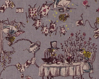 HALF YARD Yuwa - Alice in Wonderland on GREY - Miyako Kawaguchi - Cotton Linen Canvas -