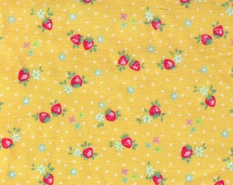 HALF YARD Yuwa - Petit Berry on Yellow - Atsuko Matsuyama 826346-C - Mini Petite Red Strawberries White Flowers - Japanese Import Fabric