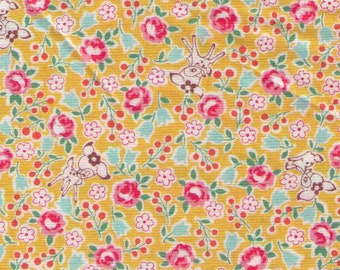 HALF YARD Yuwa - Tiny Deer and Flowers on Golden YELLOW - Atsuko Matsuyama 826389-C - Japanese Import Fabric