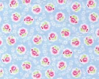HALF YARD Yuwa - Sweet Mini Rose in Scallops on Light BLUE - Atsuko Matsuyama 826378 B - Japanese Import Fabric