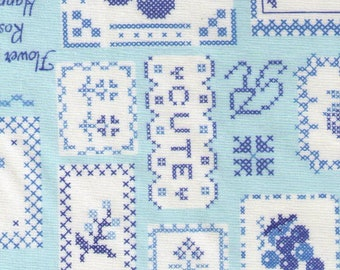 HALF YARD Yuwa - Sweet Cross Stitch Blue - 82-6536 D Atsuko Matsuyama -Fruit, Floral, Cherry, Text, Love  Japanese Import