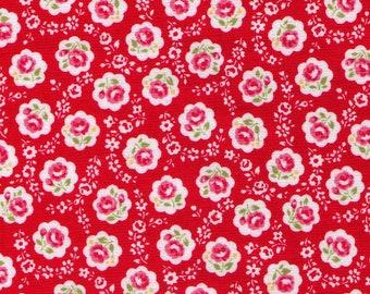 HALF YARD Yuwa - Sweet Mini Rose in Scallops on RED - Atsuko Matsuyama 826378 E - Japanese Import Fabric