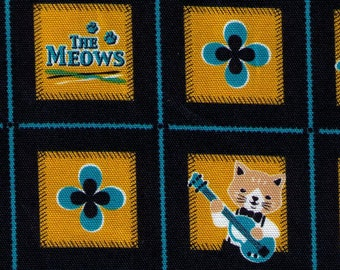 HALF Yard - Cotorienne - Sounds of Music - The Meows - 59196 E Cotton Oxford - Cat, Neko, Band, Music, Instrument Japanese Import