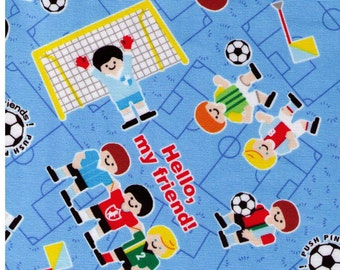 """End of Bolt 34"""" Cut - Kokka - Hello My Friends Soccer Game on BLUE - Soccer Balls, World Cup, Sports, Football, Footy - Japanese Import"""