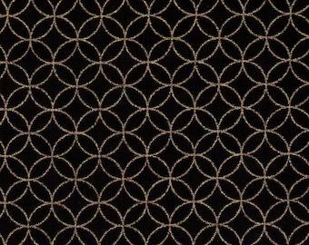 HALF YARD Gold Metallic Shippo on Black  - 88337-35 - Traditional Geometric Diamond Japanese - Overlapping Circles Design