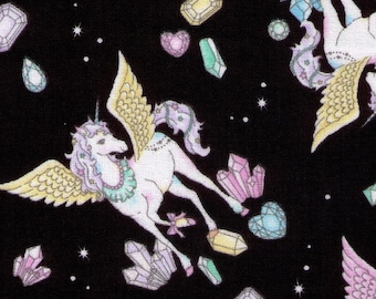 HALF YARD Cosmo Textile - Vanilla Pop Alacorn and Crystals BLACK - AP75409 E - Glitter Pegacorn Pegasus Unicorn Mythical Gem Diamond Sparkle