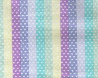 HALF YARD Kokka Pastel Pop - Tiny Heart Strips Rainbow - Blue/Purple Stripe Colorway 76040-1C - Valentine - Japanese Import