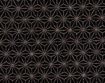 HALF YARD Gold Metallic Asanoha on Black - 88337-25- Traditional Geometric Diamond Japanese Design - Hemp Plant Design