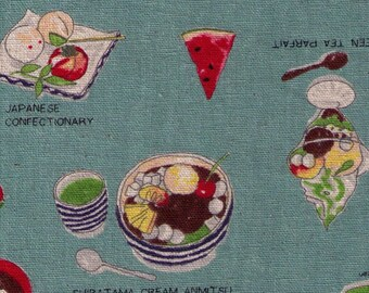 HALF YARD Lecien - Food Land - Japanese Desserts and Confections on TEAL - 40906-70 - Cotton/Linen Blend - Green Tea, Watermelon, Cream