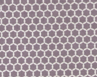 HALF YARD Yuwa Fabric - Kei Geostyle Hexacomb White and Grey Color D - Honeycombs Polka Dots by Kei - Japanese Import Fabric