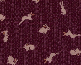 HALF YARD Bunny on Seigaiha Plum - 88227-42 Traditional Geometric Japanese Design - Rabbits on Waves, Weave