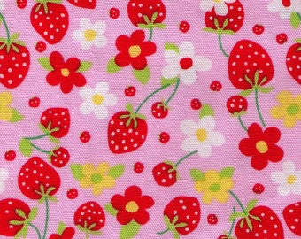 HALF YARD - Strawberry and Blossoms on PINK - 49084-20 - Strawberry Patch - Cotton Oxford - Japanese Import