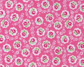 HALF YARD Yuwa - Sweet Mini Rose in Scallops on Light PINK - Atsuko Matsuyama AT826378 - Japanese Import Fabric