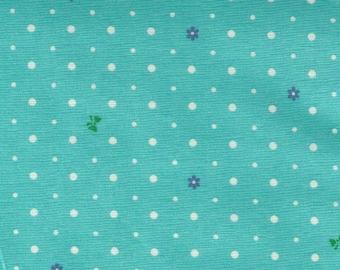 HALF YARD Yuwa - Tiny Bows and Flowers with Polka Dots on Aqua-Green 826483-B- Atsuko Matsuyama - Japanese Import Fabric