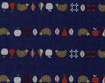 SHIP NOW - One Yard Precut - Kokka - Animar+ - Hedgehog on Navy - 85/15 Cotton Linen Blend - Japanese Import - 44000-401C