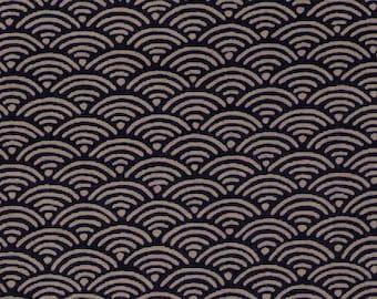 HALF YARD Seigaiha on Indigo Blue - 3030-1E - Traditional Geometric Japanese Design - Blue Sea Wave Fans