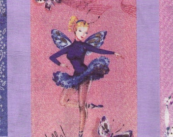 HALF YARD Yuwa - Micci Collection - Vintage Cards and Gift Tags on PURPLE - Japanese Import Fabric