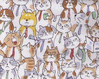 HALF YARD Kokka - Cats with Ties on CREAM - 76070-1A - Jam-Packed Business Suit, Calico, Kitty, Subway Crowd -  Drawing Outline