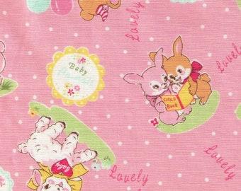 HALF YARD Yuwa - Lovely Animals on PINK - 826599-B - Atsuko Matsuyama 30s -Baby Deer, Bear, Bunny, Lamb, Balloons, Garden