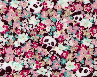 HALF YARD Cosmo Textile - Pandas hiding and playing in Flowers 9010-2B - Pink Peach Red - Field of Flowers - Japan