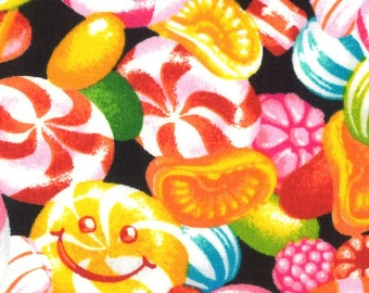 HALF YARD Lecien - Candy Shop Collection - Hard Candy Mix w/ Smiley Faces on Black - 40844-100 -Japanese