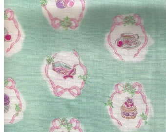 """End of Bolt 72"""" Cut - YUWA - Sweet Rondeaux - Pastries and Ribbons on Mint Green  - Japanese Import"""