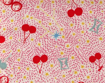 HALF YARD - Gemini Constellations and Cherries RED and Pink 281-1230-2A - Twin Faces on Cherry, Yellow Stars - Polka Dots
