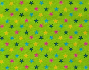 HALF YARD Cosmo Textile - Multi color Stars on Lime Green - CR8876-814 - Japanese Import