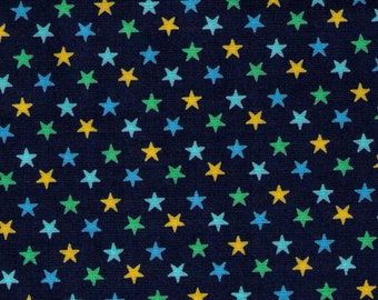 HALF YARD Cosmo Textile - Multi color Stars on Navy Blue - CR8876-818 - Japanese Import