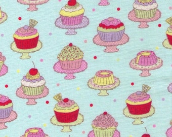 HALF YARD  Yuwa - Mini Cupcakes on Stands on Aqua Blue 812941-C - Tiny Rows, Polka Dots, Cookies, Strawberry, Chocolate, - Japanese Import