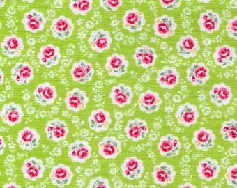 HALF YARD Yuwa - Sweet Mini Rose in Scallops on GREEN - Atsuko Matsuyama 826378 C - Japanese Import Fabric