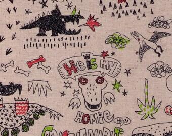 HALF YARD Go-Go-Saurs Dinosaurs on Natural - He is my Homie Dino - Miyako Kawaguchi - Cotton Linen Canvas - Trex brontosaurus - Yuwa Kei