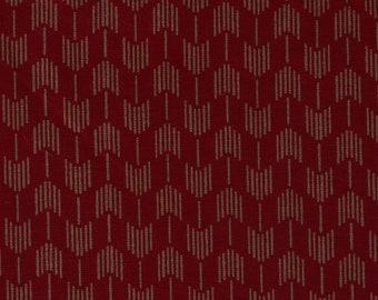 HALF YARD Yamaoka - Yabane in Dark Red - Wine 2310-2E  - Traditional Geometric Japanese - Yagasuri Fletching Arrow