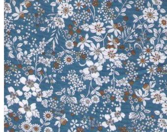HALF YARD Kokka -  Flowers on Blue - 100% Cotton 60830-832B- Japanese