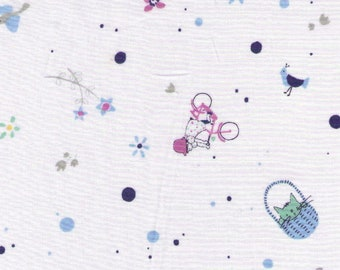HALF YARD Yuwa - Days of Kids on White - Squirrel, Cat in Basket, Child on Bike, Grasshopper -314716-A  Lawn Fabric - Japanese Import