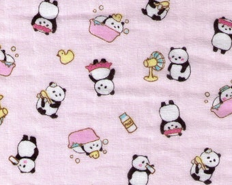 HALF YARD Cosmo - Panda Bath and Bed Time on Light PINK Double Gauze - AP76304 1B - Clean, Dirty, Rubber Ducky, Tub, Wash - Japanese Import