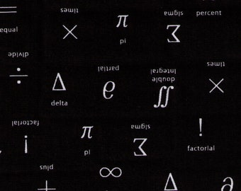 HALF YARD Sevenberry - Math Symbols on Black - 850313-12 - Text, Words, Math, Numbers, Equations - Japanese Import