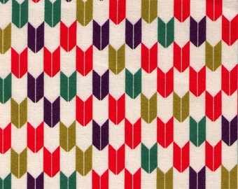 HALF YARD Cosmo Textile - Yabane in Red, Green, Purple on Natural AP1350 41A - Traditional Geometric Japanese - Yagasuri Fletching Arrow