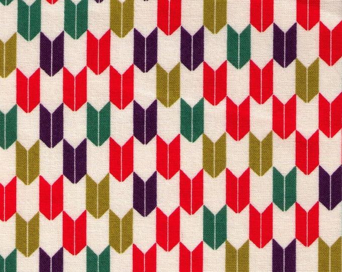 HALF YARD Cosmo Textile - Yabane in Red, Green, Purple on Natural AP1350 41A - Traditional Geometric Japanese - Yagasuri Fletching Arrow