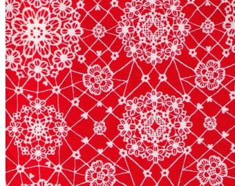 HALF YARD Yuwa - Sweet White Lace on Red 6533 E Atsuko Matsuyama - Japanese Import