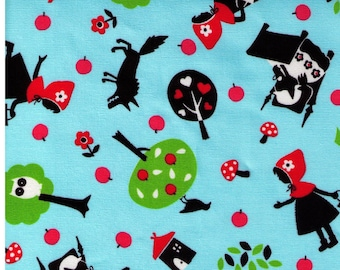HALF YARD Lecien - Girl's Story Little Red Riding Hood on Blue -  Grandmothers House, Wolf, Forest, Fairytale, Woods, Toadstool