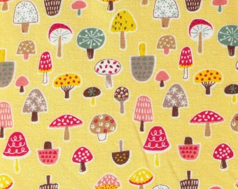 HALF YARD Cosmo Textile - Pygmy World - Mini Mushrooms on YELLOW - AP1370 6E - Japanese Import