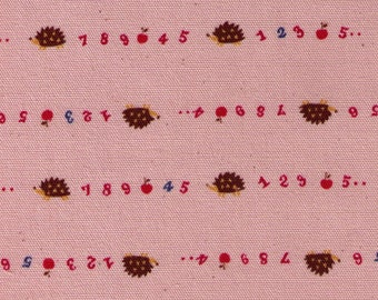 HALF YARD Kokka - Trefle Tiny Hedgehogs, Numbers and Apples on Pink - 56000-3B - Cotton Oxford - Japanese Imported