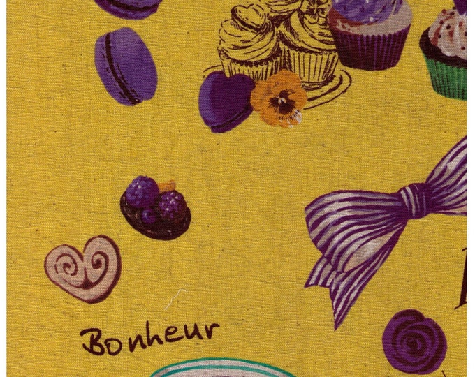 """Last Chance EOB - 9"""" Cut - Yuwa - Sweets Rondeaux Linen Cotton Blend - Paris Map of Sweets on YELLOW - Macaron, Tea, Pastry, Eiffel Tower"""