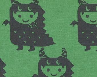 HALF YARD Kiyohara - Boys and Monsters on Green - Puti De Pome - PTMF 121 G - Cotton Linen Blend - kaiju kigurumi - Import
