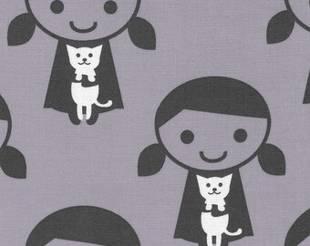 HALF YARD Kiyohara - Girl and Her Cat on Grey - Puti De Pome - PTMF 120 Gry - Cotton Linen Blend - Kitten, kitty - Import
