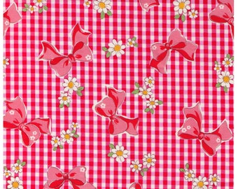 SHIP NOW - One Yard Precut - Yuwa - Red Gingham and Bows with White Daisies 826155-A - Atsuko Matsuyama 30s - Daisies Bows - Japanese Import